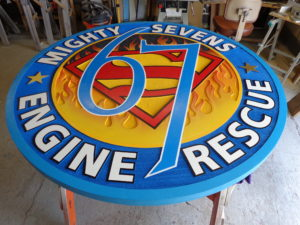 sandblasted, airbrushed fire station tabletop
