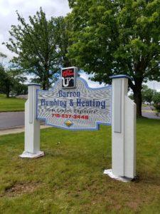 sandblasted plumbing sign